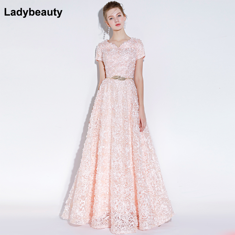 Ladybeauty Banquet Elegant Evening Dress Simple Pink Lace Floor length Formal Dresses with Belt Custom Party