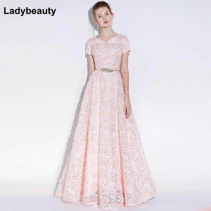Robe De soirée élégante De Banquet De Ladybeauty robes formelles simples De longueur De plancher De dentelle rose avec la ceinture Robe De soirée personnalisée Robe De soirée