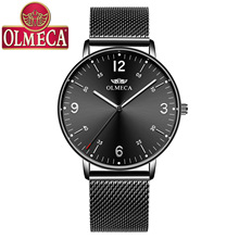OLMECA Fashion Trend Men's Watch Net with Casual Luminous Waterproof Quartz Watch Men