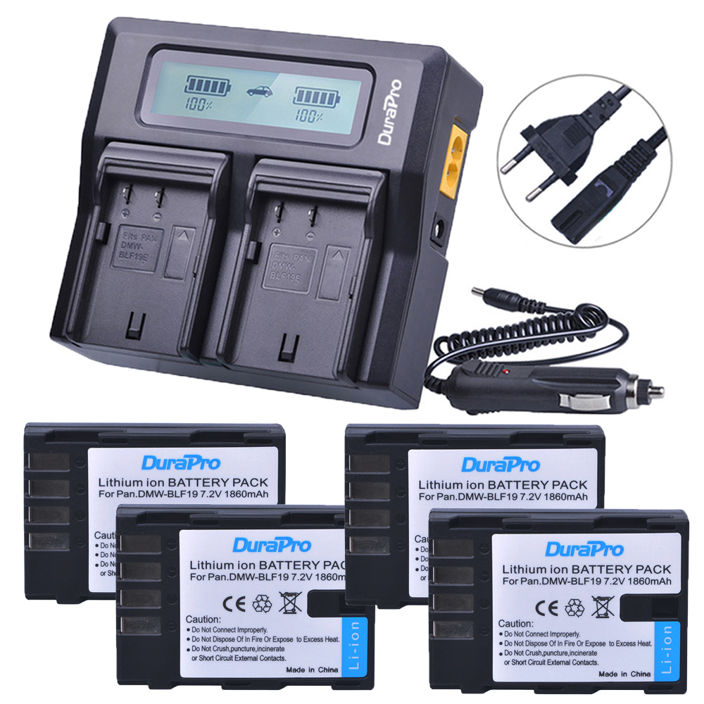 4X 1860mAh DMW-BLF19 DMW-BLF19E DMW BLF19PP BLF19 BLF19E Battery +LCD Display Dual Quick Charger for Panasonic Lumix GH3 GH4 GH5 цены
