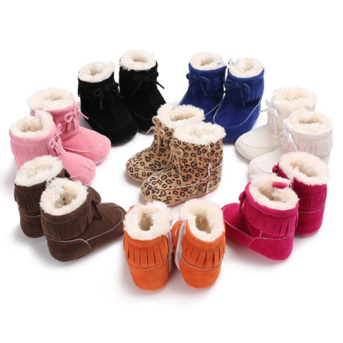2017 New Fashion 0-18M Infant Baby Girls Warm Boots Newborn Toddler Kids Soft Sole Shoes Tassel Boots