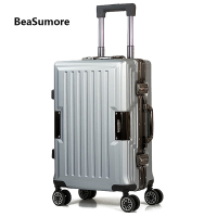 BeaSumore High grade Aluminum frame Rolling Luggage Spinner 20 inch Women Cabin Suitcase Wheels Men business Trolley