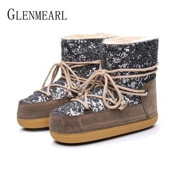 Botas de nieve de invierno de marca para mujer, zapatos de piel caliente, zapatos de piel de tobillo, botas antideslizantes para mujer, punta redonda, talla grande señoras DE