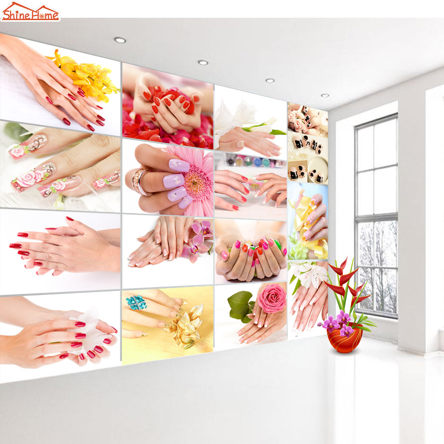 Shinehome-3 d Wallpaper for Livingroom 3d Wall SPA Nail Salon Cosmetic Massage Rose Store Rolls Wall Paper Roll Papel De Parede 63 rose de mai