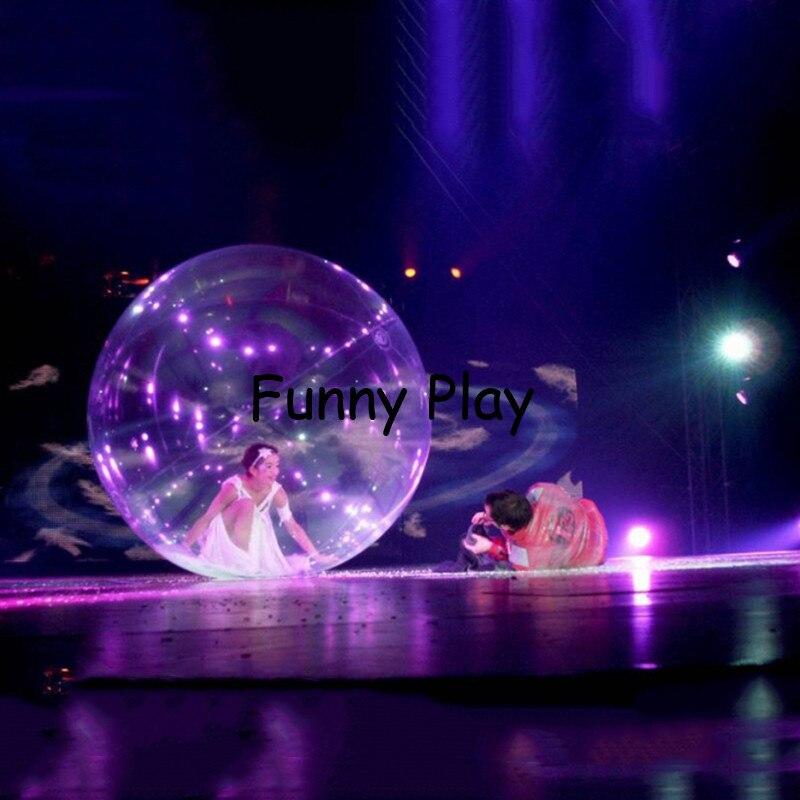 Boule de danse gonflable avec fermeture à glissière pour t-show événement spectacle boule de marche de l'eau piscine extérieure boule de Zorb de l'eau transparente