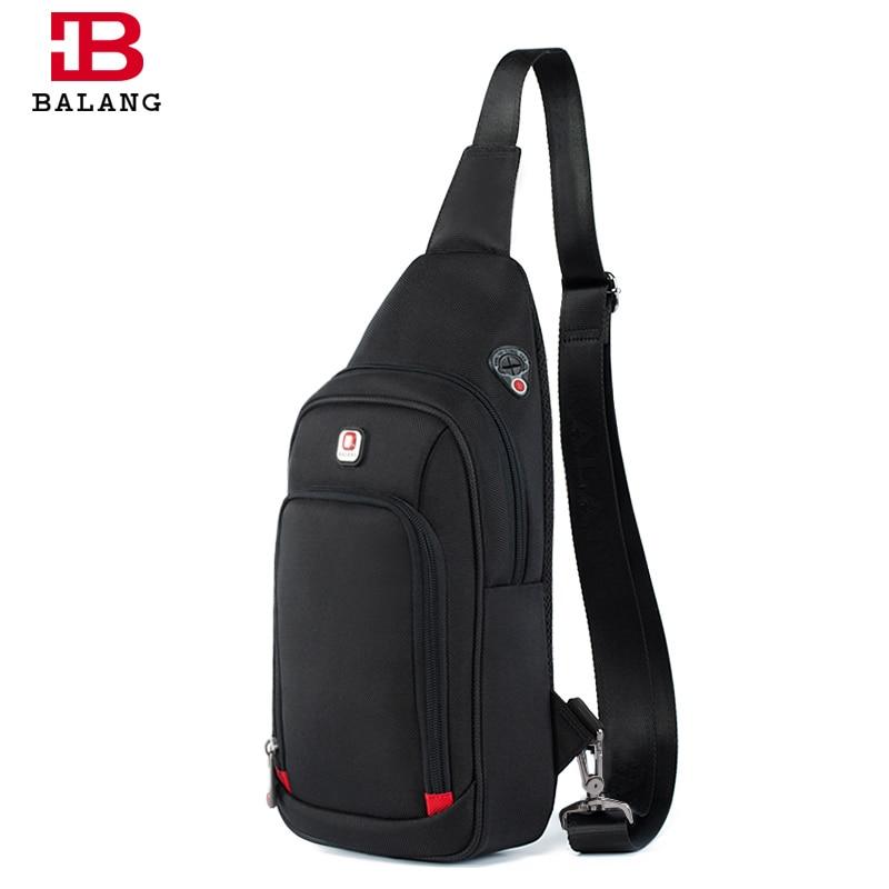 купить 2018 New Designer BALANG Brand Waterproof Men Leisure Messenger Bags Business Shoulder Bags Black Chest Packs for IPAD Mini по цене 1222.6 рублей