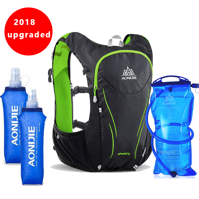2018 AONIJIE 5L Outdoor Sports Backpack Women / Men Marathon Hydration Vest Pack for Exchange Cycling Hiking Water Bag 3l tactical water bottle bag knapsack hydration backpack pouch hiking camping cycling pack canteen water bag molle