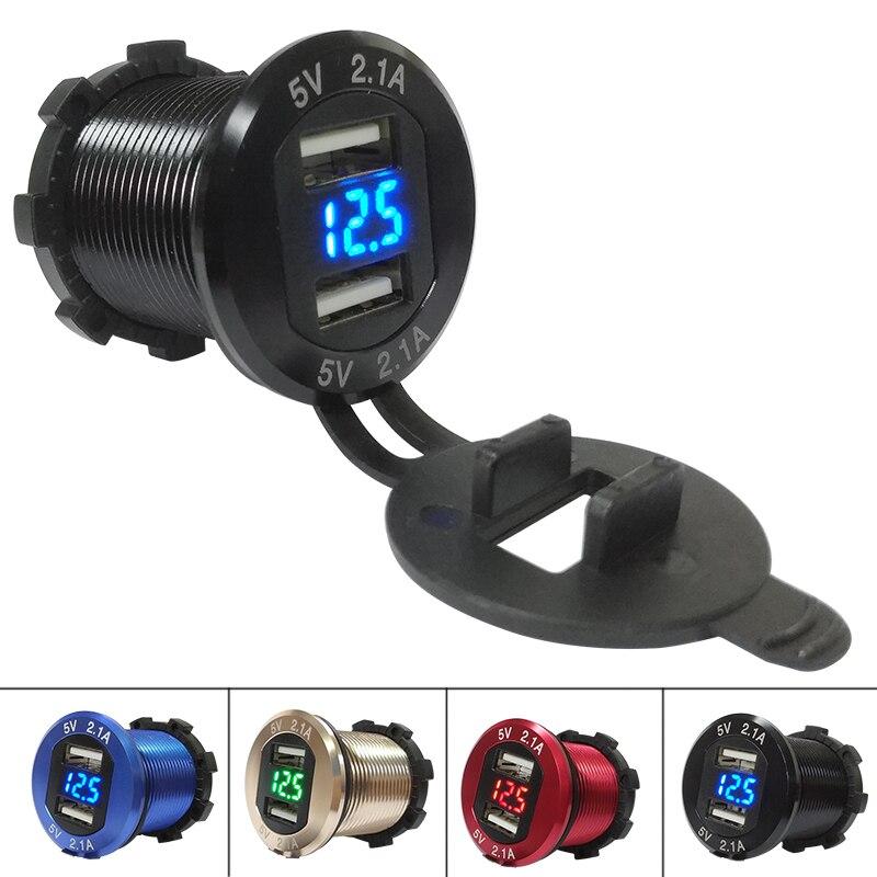 DIY Métal Shell En Alliage D'aluminium Étanche Marine Voiture Chargeur 4.2A Double USB avec Voltmètre pour Voiture Bateau Moto Mobile