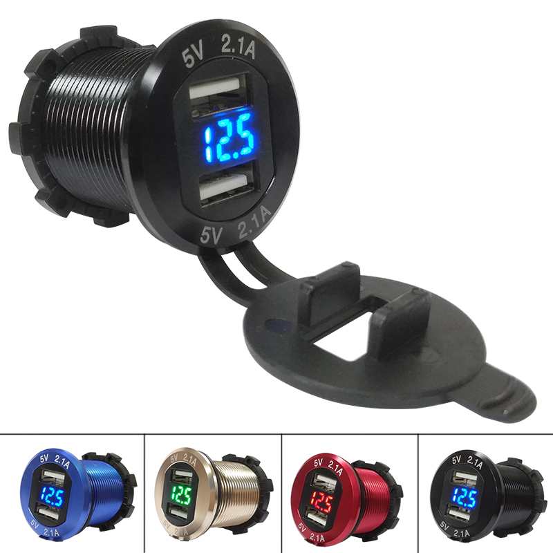 все цены на DIY Metal Shell Aluminum Alloy Waterproof Marine Car Charger 4.2A Dual USB with Voltmeter for Car Boat Motorcycle Mobile онлайн