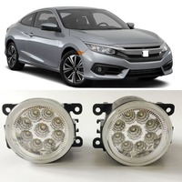Car Styling For Honda Civic 2016 2017 9 Pieces Leds Chips LED Fog Light Lamp H11 H8 12V 55W Halogen Fog Lights