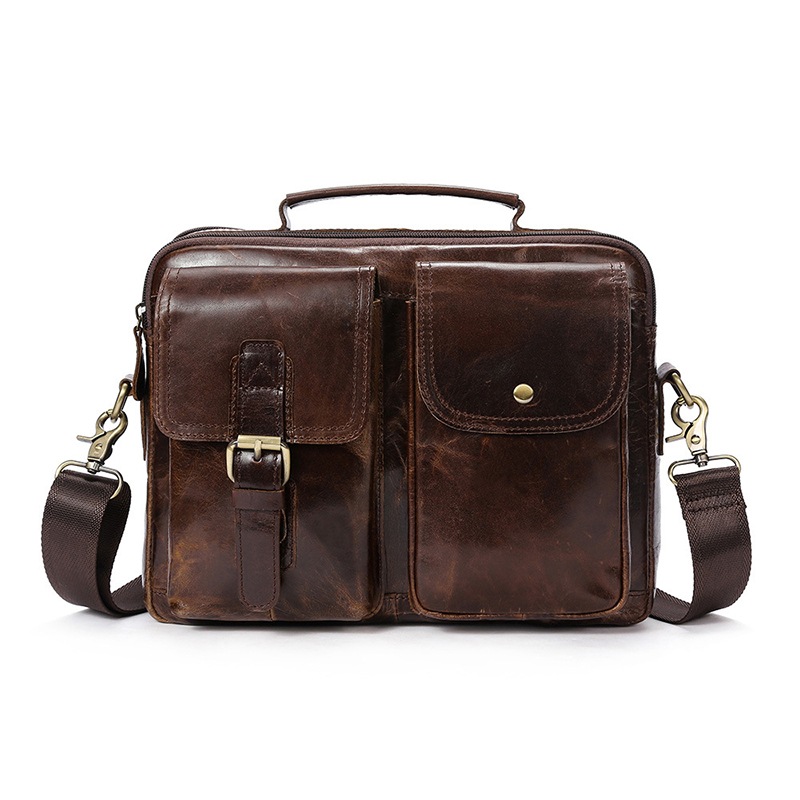 2018 New Genuine Leather Vintage Men Bag Cow Leather Handbag Business Casual Men Travel Laptop Bag Shoulder Bags Tote Briefcase male bag vintage cow leather school bags for teenagers travel laptop bag casual shoulder bags men backpacksreal leather backpack