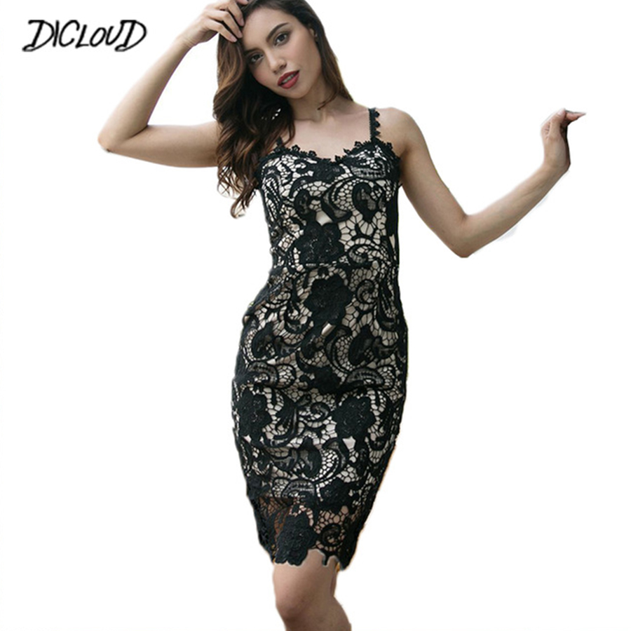 6094b8b61db 2018 Sexy black Lace Party Skater Dress Women Hollow Out Nude Illusion  Skins Dresses Ladies Sleeveless Midi Beach Dress Vsestido