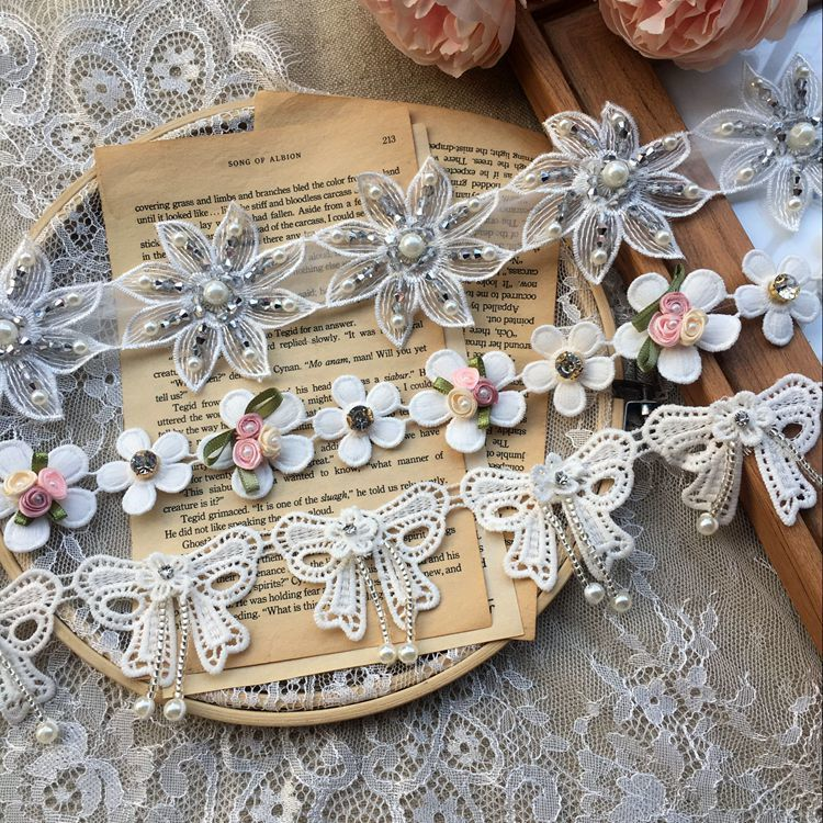 Luxury Glitter Hand Beads Rhinestones 3d Lace Collar Trim Organza Fabric Embroidery Flowers Bows Lace Garment Sewing Supplies in Lace from Home Garden