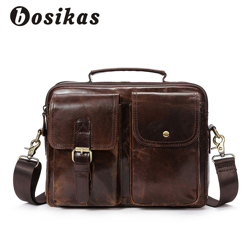 BOSIKAS Genuine Leather Men Briefcase Fashion Handbag Casual Men's Bag for Document Leather Zipper Shoulder Flap Laptop Bag