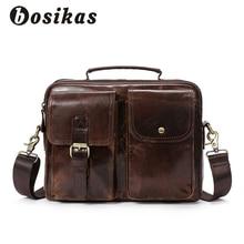 BOSIKAS Genuine Leather Men Briefcase Fashion Handbag Casual Men's Bag for Document Leather Zipper Shoulder Flap Laptop Bag