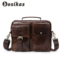 BOSIKAS Genuine Leather Men Briefcase Fashion Handbag Casual Men S Bag For Document Leather Zipper Shoulder