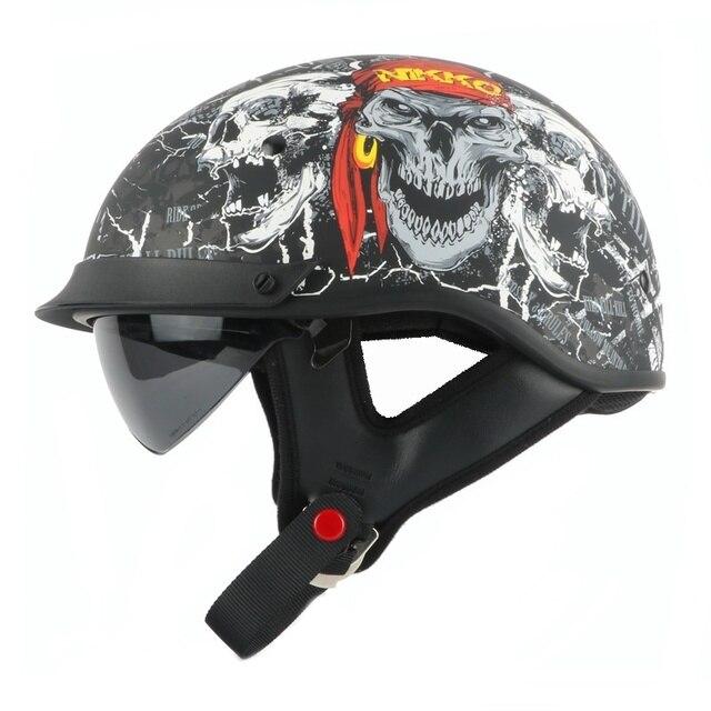 880a7905a45e3 Pirata Calavera moto rcycle casco Vintage moto rbike medio casco Retro  scooter casco con interior visor