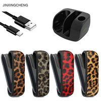 JINXINGCHENG Charging Leather Case Leopard for iqos 3.0 Cover and Charger Protective Accessories