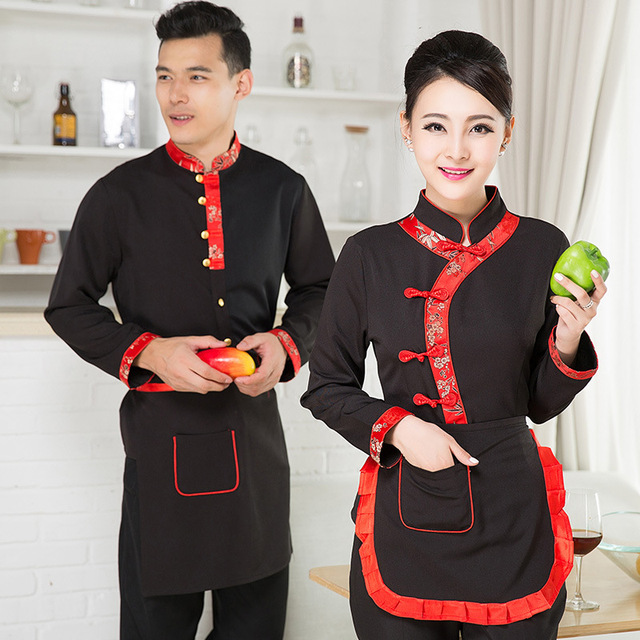 175a7dfb89e Long Sleeve Women Restaurant Waitress Uniform Men Hotel Waiter Uniform With  Logo Chinese Coffee Shop Chef s Coat +Apron 18