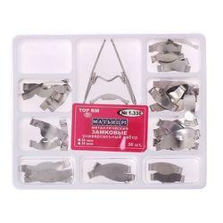36 szt. Dental Saddle profilowane matryce metalowe Matrix uniwersalny zestaw z zacisk sprężynowy narzędzie do wybielania zębów