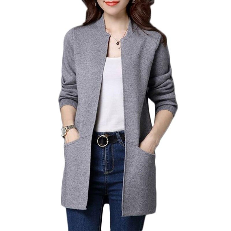 Демисезонный Большие размеры свитер Для женщин куртка пальто свободные длинные knitt кардиган Для женщин шаль низкая кардиган с круглым выре... ...