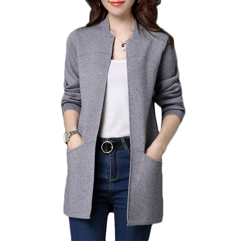 Spring Autumn Plus size Sweater Women Jacket Coat Loose Long knitt Cardigan Womens Shawl Low Round neck Cardigan Sweater A335 ...