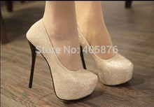 2016 womems fashion high heels shoe women pumps black/silver Colour party platforms shoes