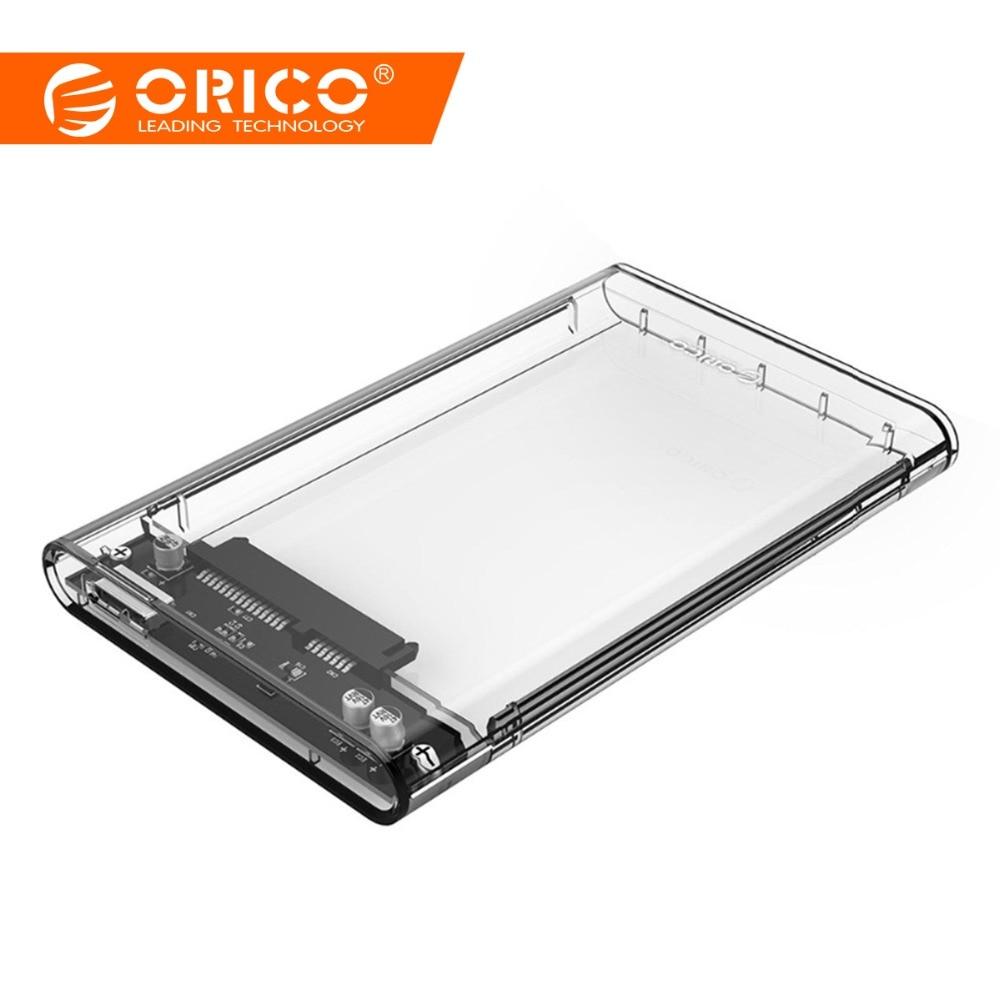 ORICO 2,5 colio skaidrus HDD dėklas USB3.0 - Sata 3.0 įrankiui Nemokamas 5 Gbps palaikymas UASP protokolo kietojo disko korpusas - (2139U3)