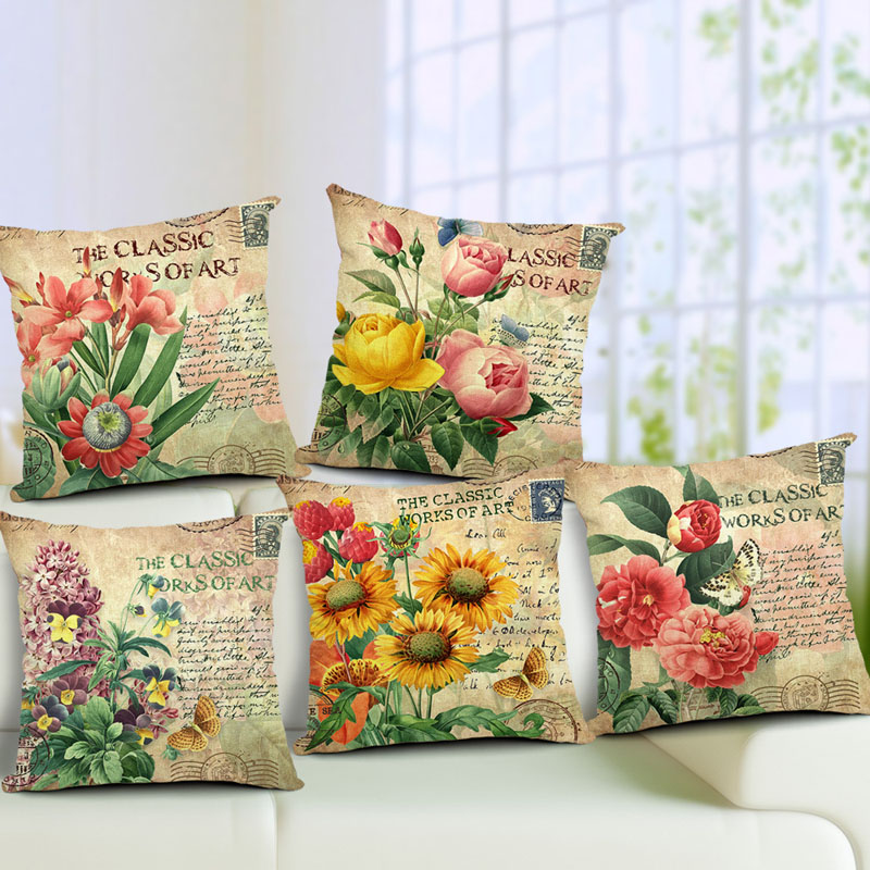 Showy And Colorful Cotton Linen Cushion Cover Vintage Style Flowers Pattern Quote Pillowcase Waist Throw Pillow