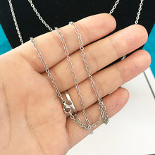 10pcs/lot 45cm 50cm 60cm Stainless Steel Chain Necklace 2mm Width Chain Cable Flat O Shape Cross Chain DIY Material for Jewelry(China)