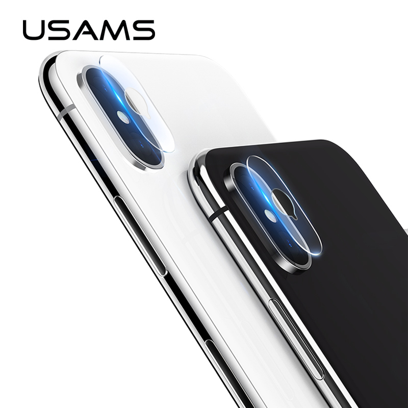 2PCS/lot For iPhone X USAMS camera Lens Screen Protector Tempered Glass Film 9H Gorilla Glass Scratch Proof len cover