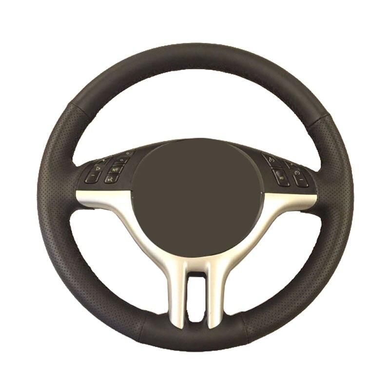 Car steering wheel braid for BMW E39 E46 325i E53 X5/Custom made dedicated Artificial Leather Auto Steering-Wheel Cover mewant black artificial leather car steering wheel cover for bmw e36 e46 e39