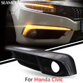 Para honda civic 10th 2016 2017 carro led drl luzes diurnas virando signal nevoeiro decoração da lâmpada acessórios do carro-styling