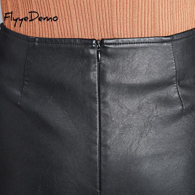 4XL Autumn Winter Women Faux Leather Skirt 2019 Black Pu Leather Belt Female OL Office Short Pantskirt Plus Size 4