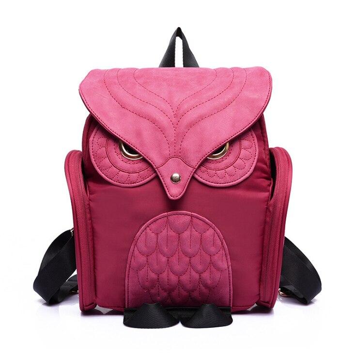 Fashion Cute Owl Backpack Women Cartoon School Bags For Teenagers Girls Nylon Women Backpack Punk Zipper