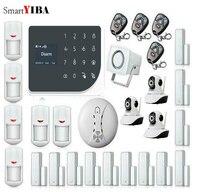 SmartYIBA Touch Панель Беспроводной проводной WI FI GSM дома охранной сигнализации Системы APP дистанционного Управление видео IP Камера Дым пожарный С