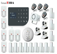 SmartYIBA Touch Panel Wireless Wired WIFI GSM Home Security Alarm System APP Remote Control Video IP Camera Smoke Fire Sensor