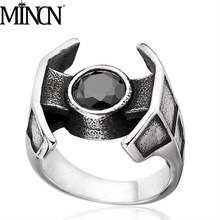 MINCN fashion Gothic punk style pirate skull mens custom ring stainless steel cross letter personality jewelry