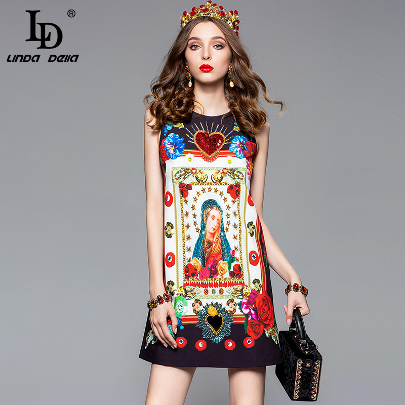 LD LINDA DELLA Fashion Designer Summer Dress Women s Sleeveless Tank Angel Sequin Floral Print Holiday