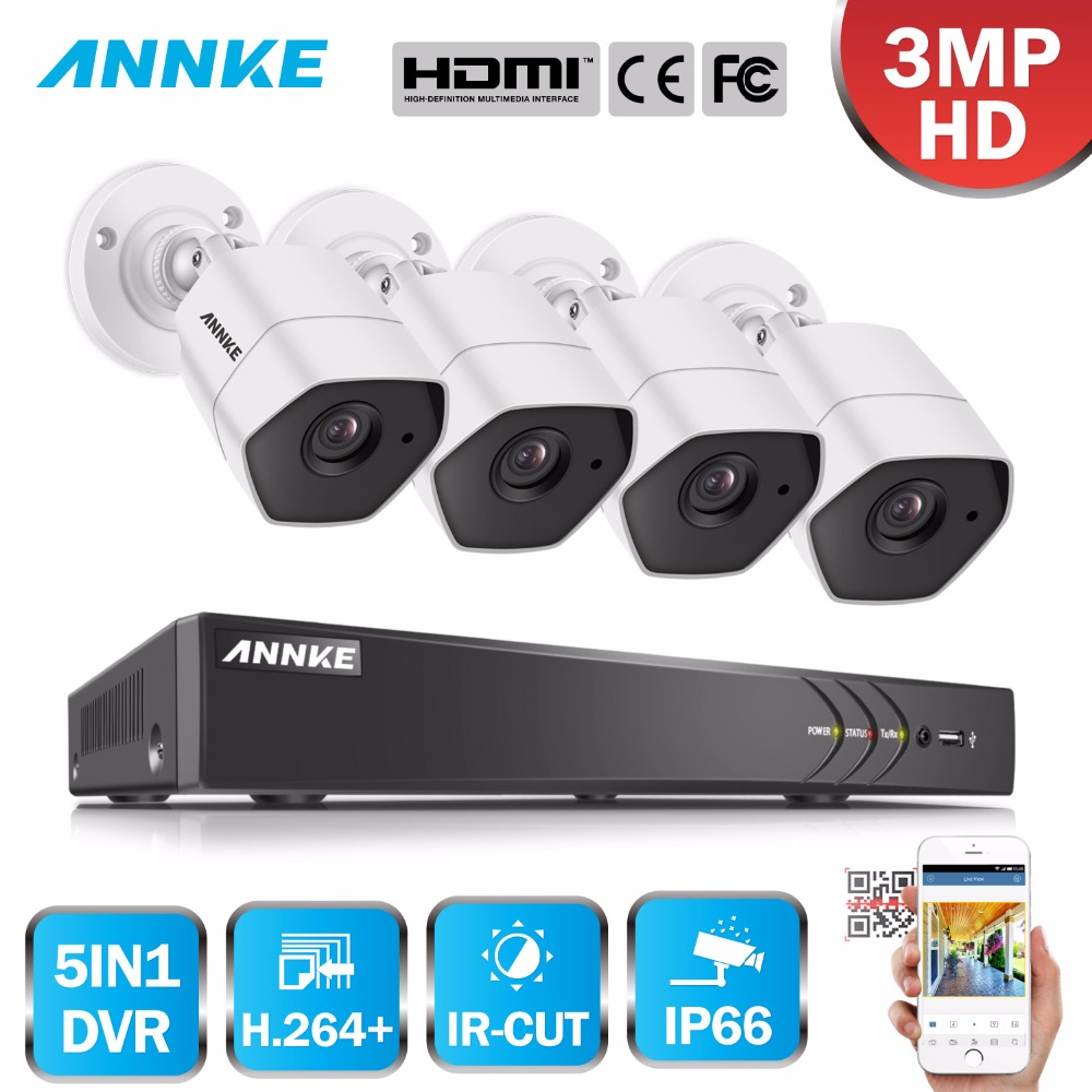ANNKE Full HD 4CH AHD 3MP Home Outdoor CCTV System Kit 4 Channel 1920*1536 Surveillance Camera 1920P Security System Kit new super 4 channel hd ahd 3mp home outdoor security camera system kit 6led array video surveillance 1920p cctv camera system