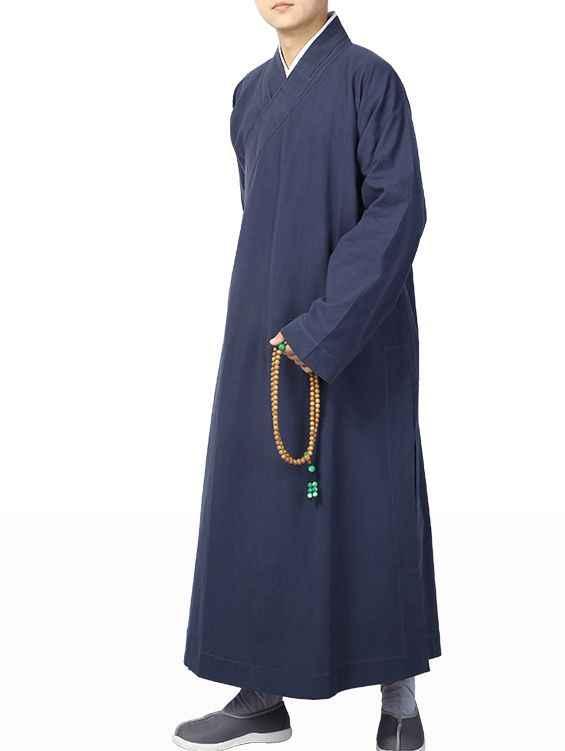 6 カラーユニセックスコットン禅服ガウン瞑想制服ローブ仏教ブルー/黒少林寺カンフー僧侶スーツ