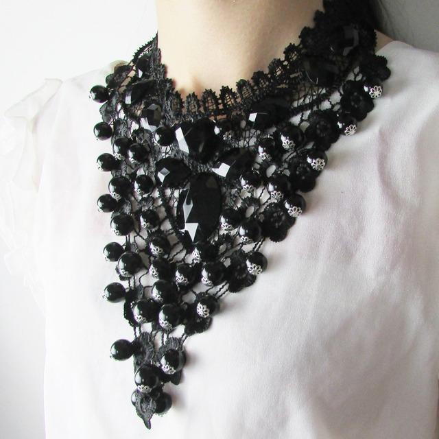 2017 Female Jewelry Black Lace Necklaces & Pendants Short Choker Women Accessories Gift  False Collar Statement Necklace