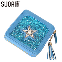 SUOAI Women Wallet 2017 Female New Tassel Short Wallet Fashion Pu Leather Zipper Purses Shining Girls