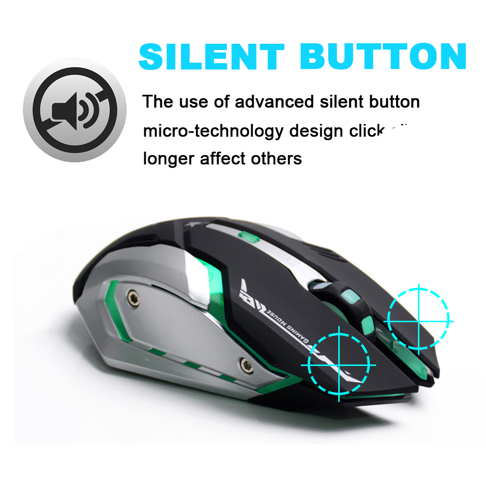 AZZOR Rechargeable Wireless Gaming Mouse 7-color Backlight 2