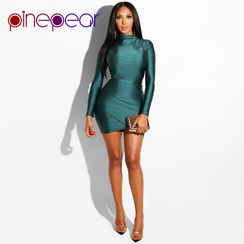 PinePear Pleated Dress | Long Sleeve Draped Mini Dress 1
