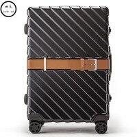 PC Бизнес Rolling Чемодан сумки Алюминий Frame сплава Spinner колеса самолет чемодан сумка для переноски Путешествия Тележка 20 24 28 дюймов