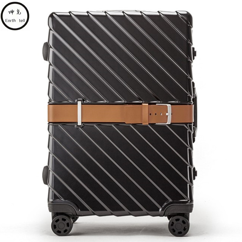 PC Business Rolling Luggage Bags Aluminum Frame Alloy Spinner Wheels Airplane Suitcase Bag Carry Travel Trolley 20 24 28 Inch