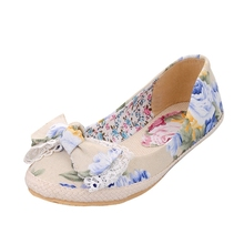 Floral Loafers 2016 Summer Ballet Flats Casual Shoes Woman Slip On Flats Round Toe Platform Women
