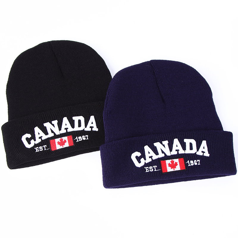 VORON New Winter Knit Caps CANADA Letter Embroidery Cotton Knit Hat Unisex Baggy Beanie Hat Crochet Outdoor Cap