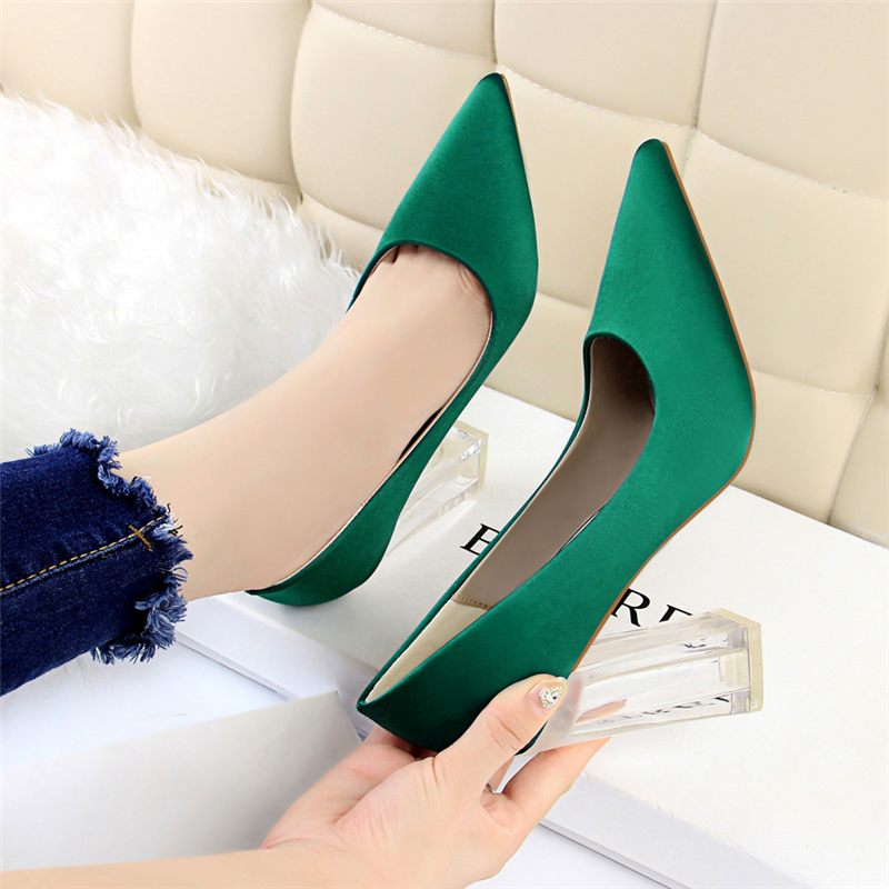 19 Plus Size 43 Women Block 10cm High Heels Lady Scarpins Green Satin Pumps Female Wedding Yellow Blue Silk Transparent Shoes 34
